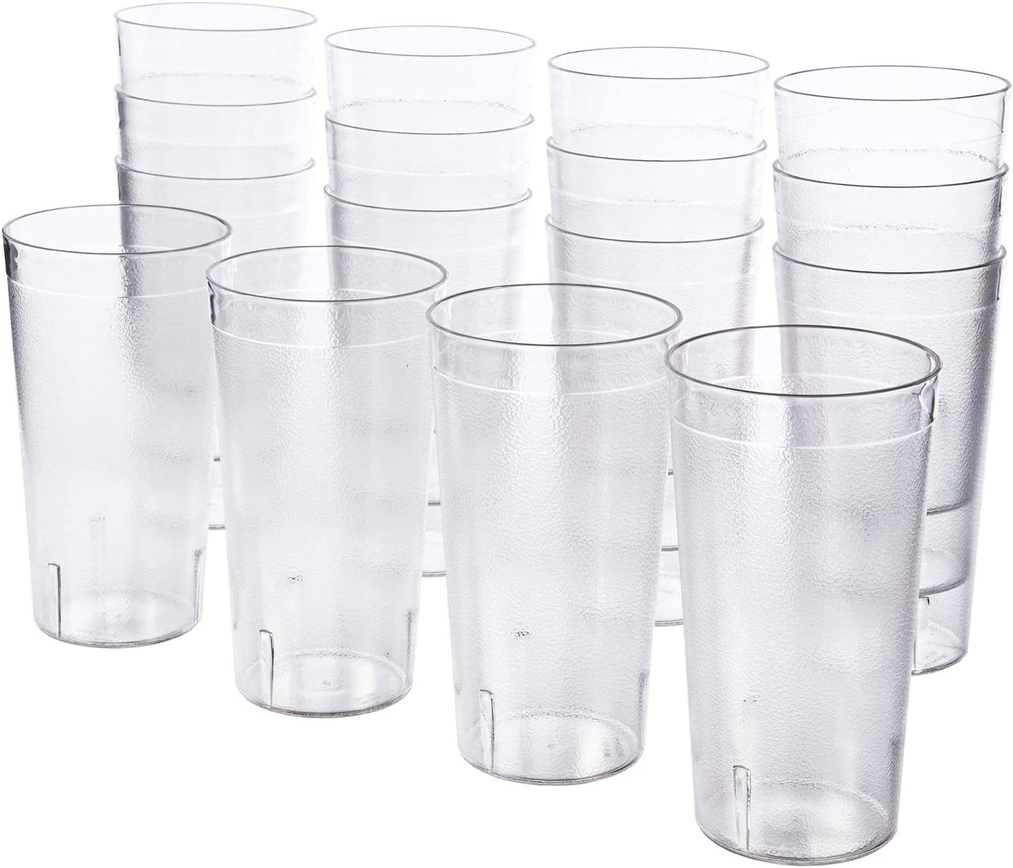 Cafe 20 Ounce Break Resistant Plastic Restaurant Style Beverage Tumblers Set Of 16 Clear Mixed Drinkware Sets