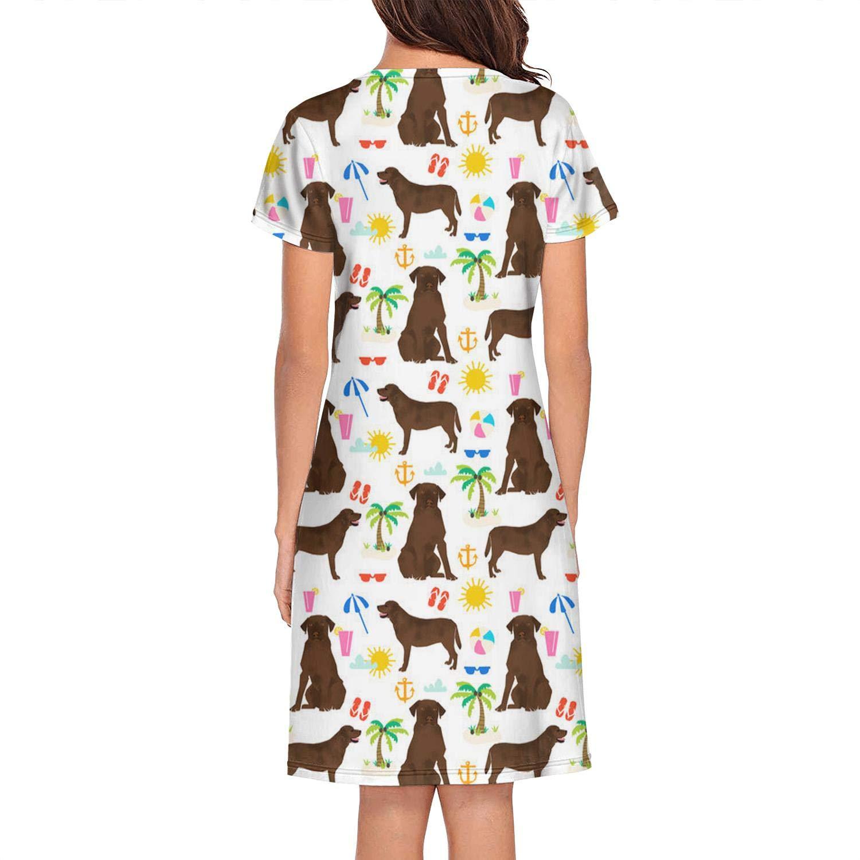 ladie cat Pink Dachshunds Dog Floral1 Womens Sleep Shirt Sleep Dress for Women