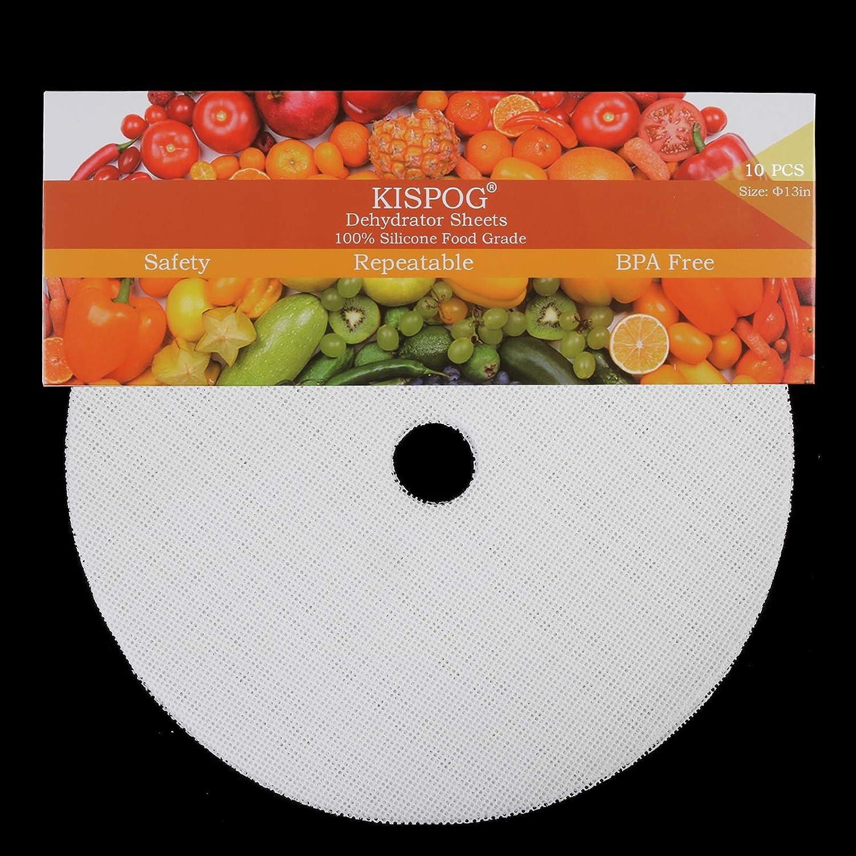 Kispog 10Pcs/Set Premium Non-Stick Silicone Dehydrator Sheets for Nesco Dehydrator, Round 13in