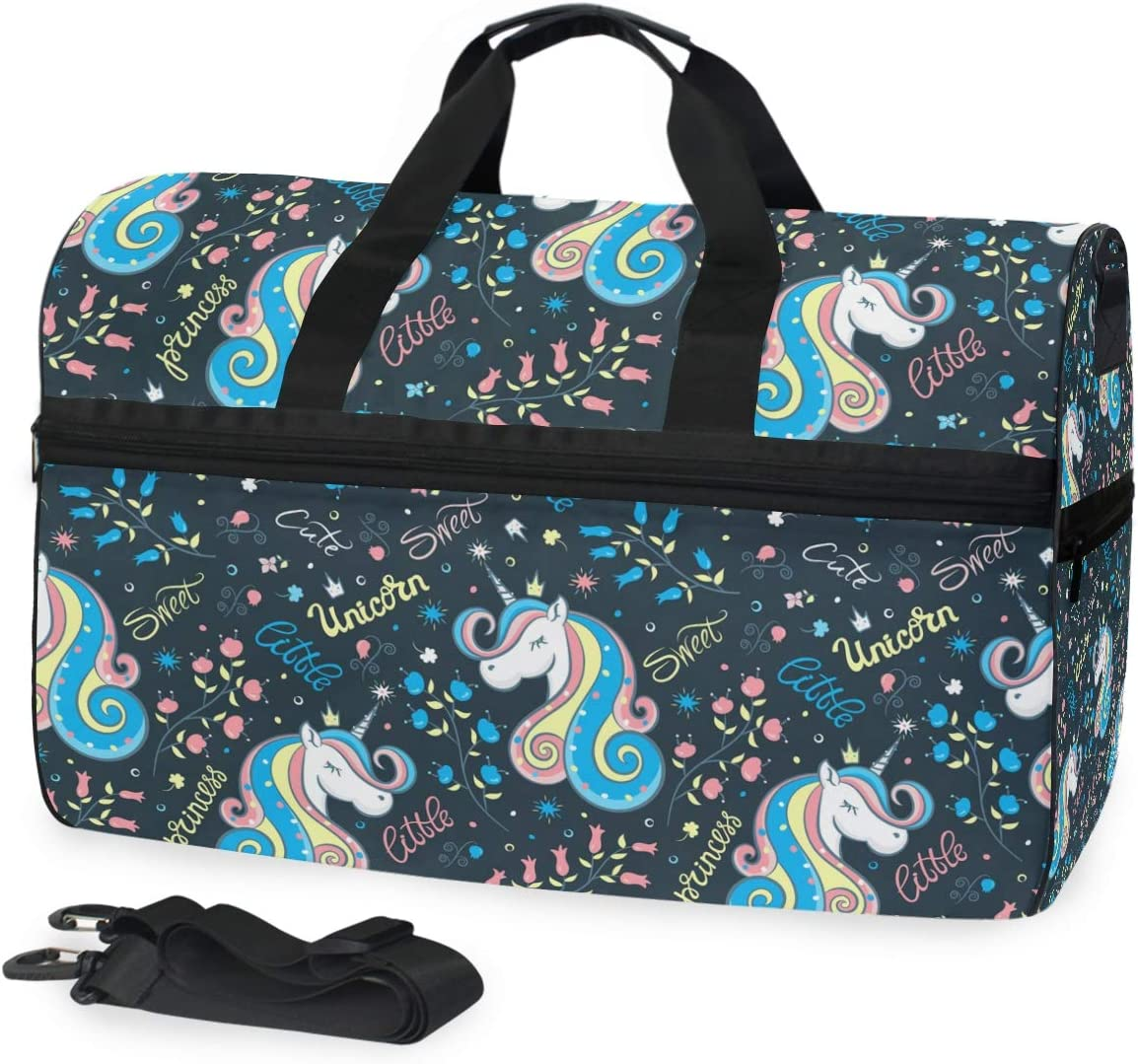 Unicorns Sports Gym Bag with Shoes Compartment Travel Duffel Bag for Men and Women