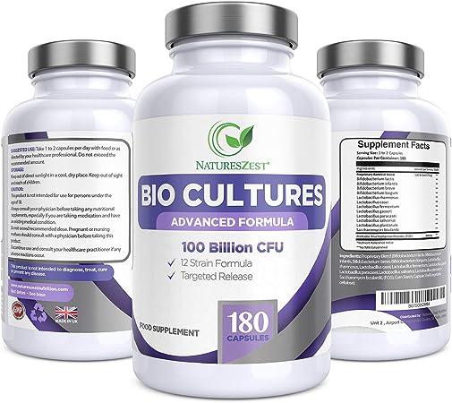 Natures Zest 100 Billion CFU Bio Cultures Probiotics with Prebiotics 180  Capsules Highest Strength 12 Strain Ultra Formula for Adults (Men/Women)  Food Supplement – 6 Months' Supply: Amazon.co.uk: Health & Personal Care