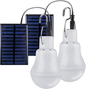 TechKen Solar Bulbs Lights Outdoor 2 Sets Soft White Non-Dimmable No Need Energy for Outdoor Securtiy Camping Light