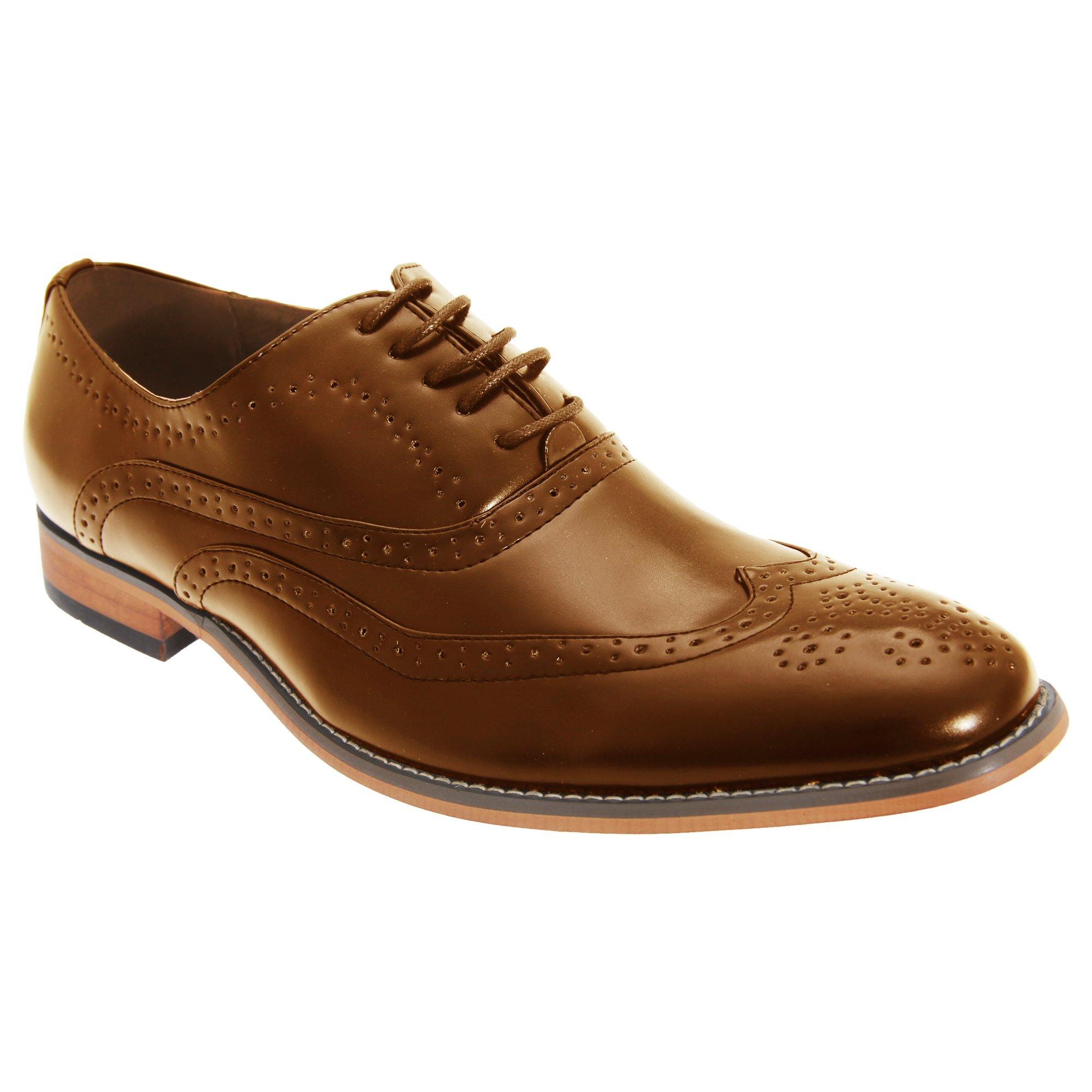 Goor Mens 5 Eyelet Brogue Oxford Shoes (11 US) (Tan)