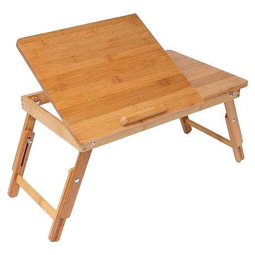 Woltu bt09br Laptop Mesa bambú portátil Mesa Regulable Plegable ...