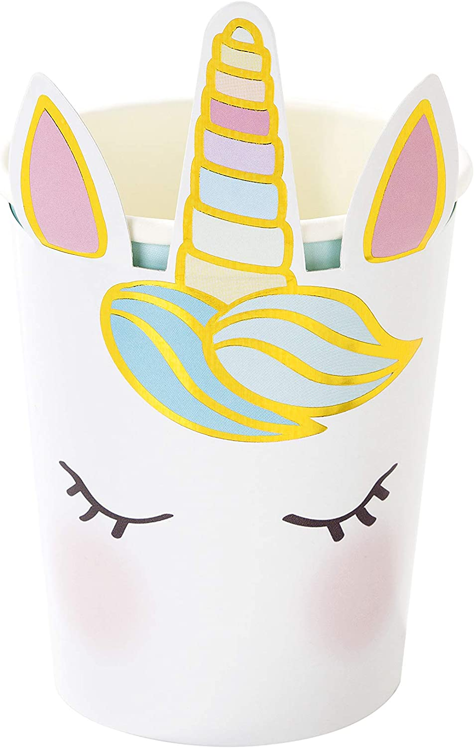 Unicorn Paper Cups for 8 Guests