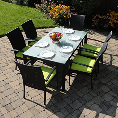 Turks Outdoor Wicker Patio Furniture Dining Set With Frosted Glass With  Bright Lime Green Cushions