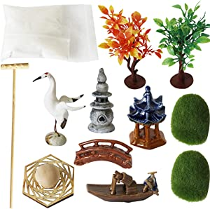 Zen Garden Accessories Tools Kits - Miniatures Sandbox Mini Rake Stamp Decorations Office Tabletop Sand Garden Rocks Plants Fairy Garden Figurines Bridge Birds