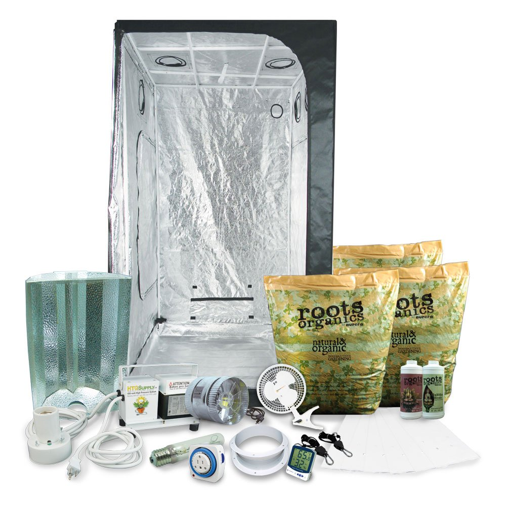 HTGSupply 3 x 3 39 x39 x79 Grow Tent Kit Complete with 400-Watt HPS Organic Soil Nutrients