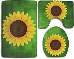 SUNFLOWERS LINED COTTON ELONGATED TOILET SEAT LID COVER