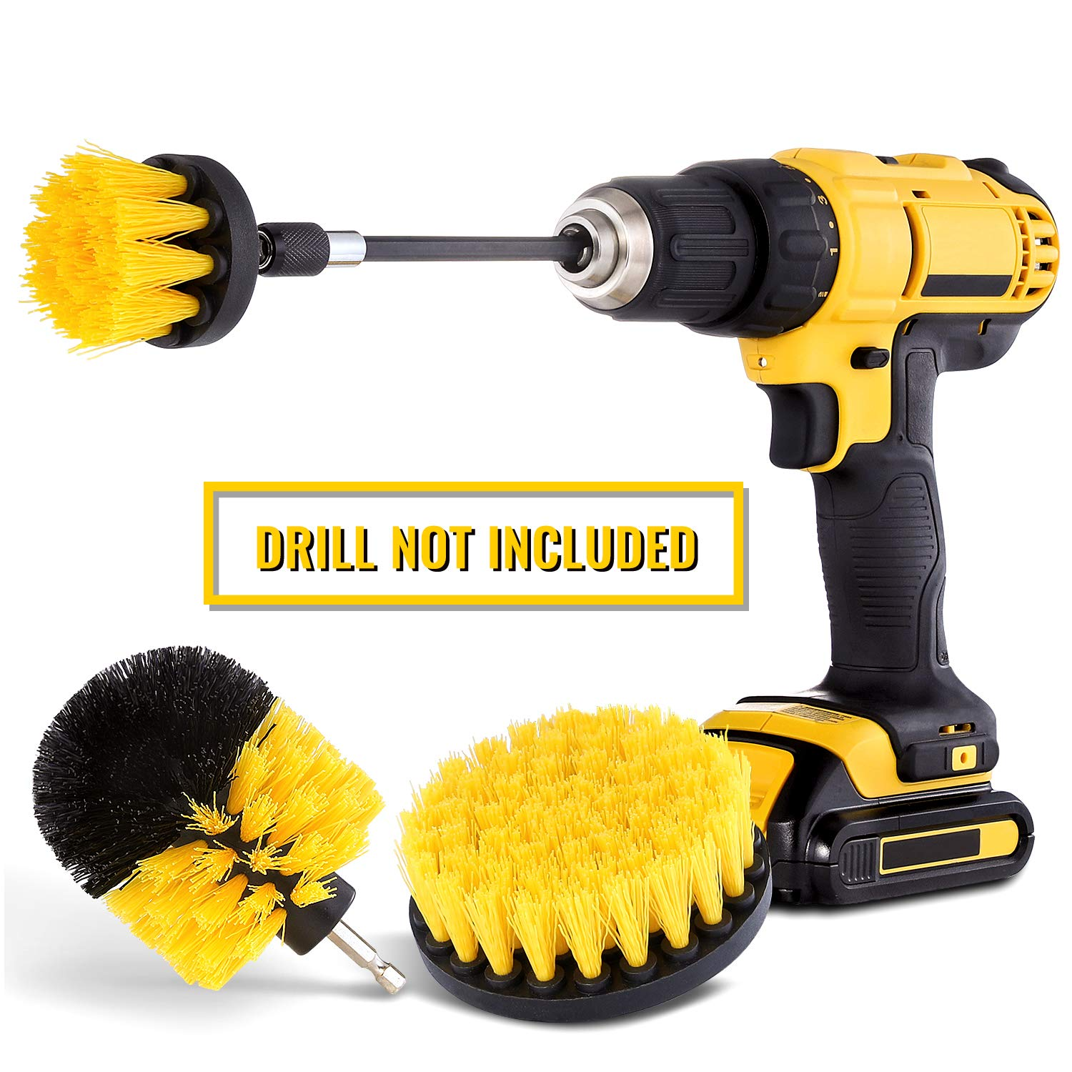 HIWARE Drill Brush Attachment Set – Power Scrubber Brush Cleaning Kit – All Purpose Drill Brush with Extend Attachment…