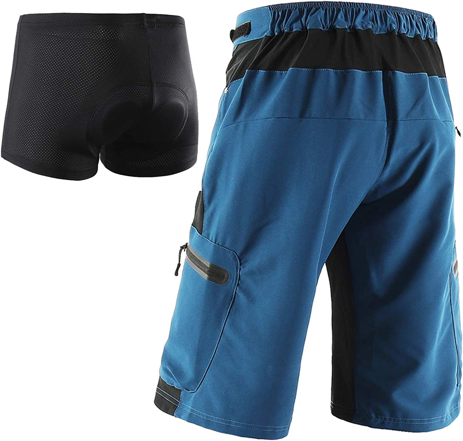 ARSUXEO Mens Cycling Shorts Loose Fit MTB Mountain Shorts Water Resistant Outdoor Sports Bottom 1202