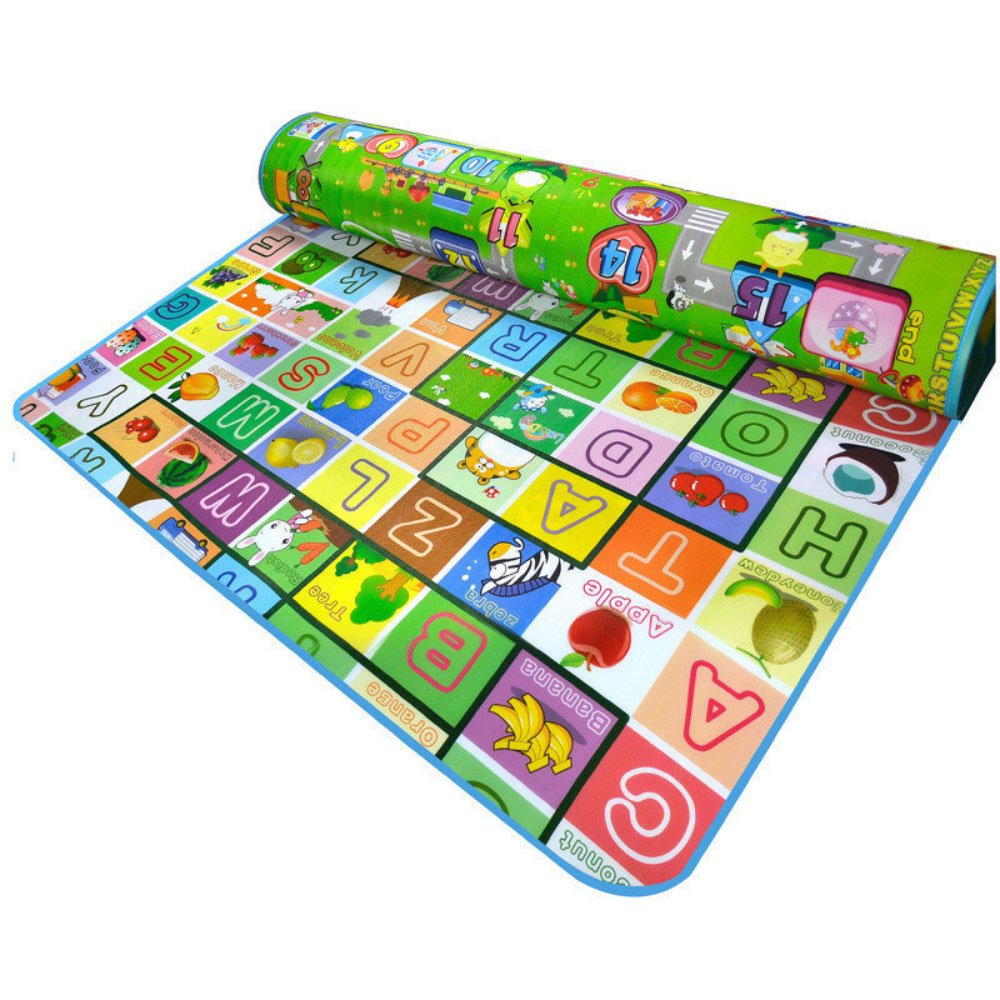 RuiHome Fruit Alphabet Print Reversible Baby Crawling Play Mat Boys Girls Educational Floor Rug for Bedroom Playroom Nursery - 79'' x 71''