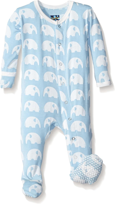 KicKee Pants Print Footie with Snaps Newborn, Essentials Pond Stripe