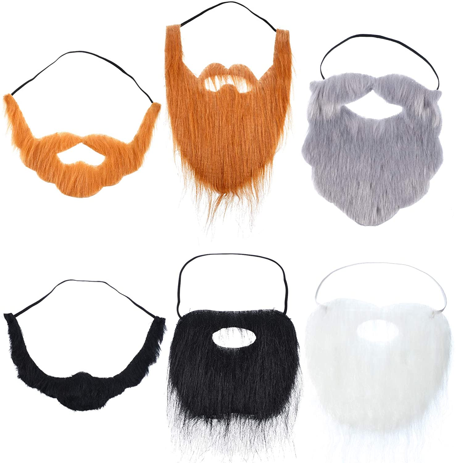 WILLBOND 6 Pieces Fake Beards Mustaches Halloween Beard Funny Fake Beard Costume Accessories Party Supplies for Adult Kids
