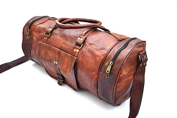 7c0051c0aa Image Unavailable. Image not available for. Color  omansh Genuine Leather  Menes Duffel Gym Bag Sports ...