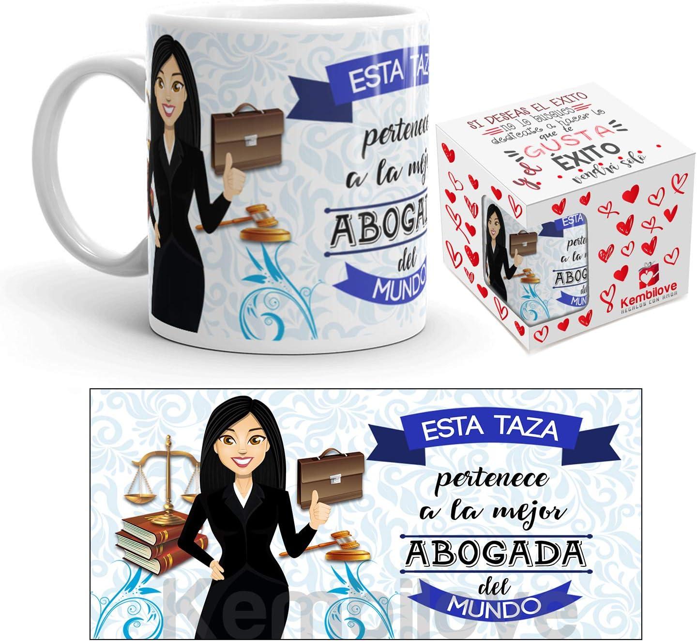 Kembilove Taza de Café de la Mejor Abogada del Mundo – Taza de Desayuno para la Oficina – Taza de Café y Té para Profesionales – Taza de Cerámica Impresa – Tazas de Jefe de 350 ml para Abogadas