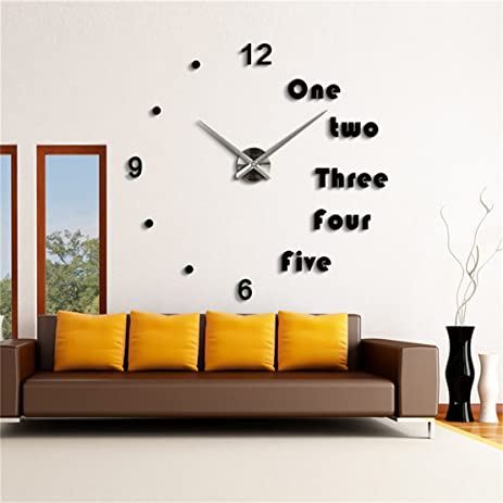 DIY 3D Wall Clock Modern Large Home Decor Sticker Frameless Black Mirror For Office Living Room