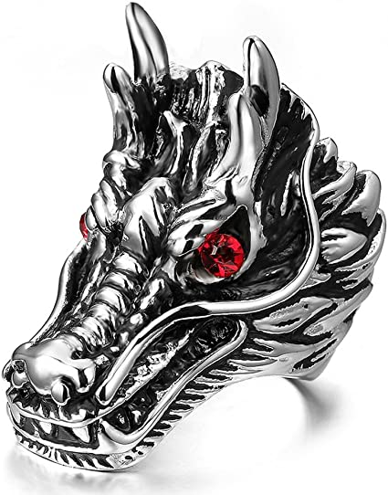 Evil Red eye Stainless steel biker ring Harley Davidson Triumph dragon GOT