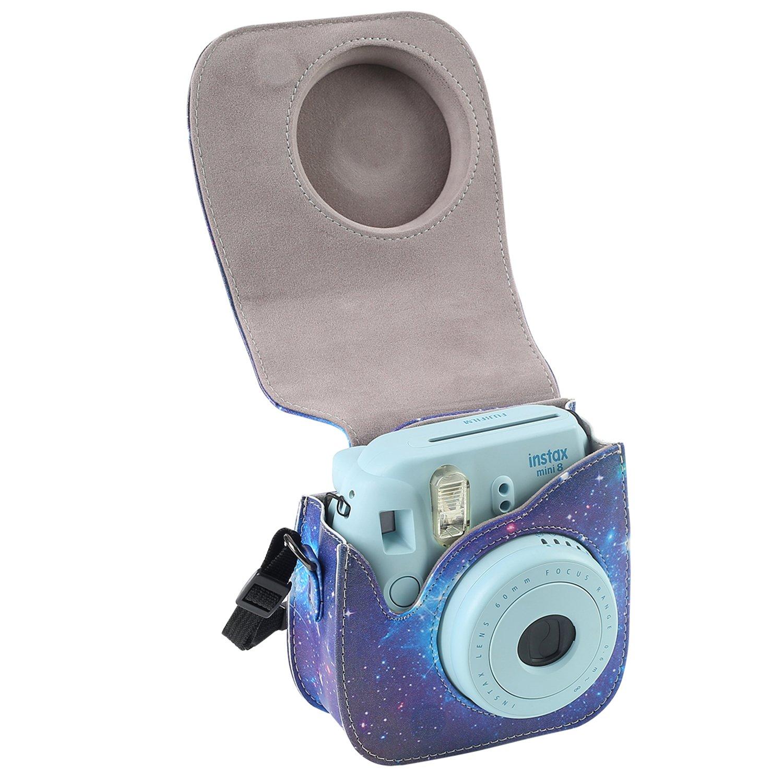 Marrone Protettiva in Pelle Soft PU con cinturino a spalla e tasca Leebotree Custodia Compatibile con Instax Mini 9 Mini 8 8+Fotocamera istantanea