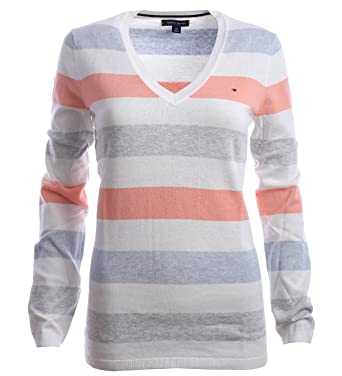 4689c2d6a8 Tommy Hilfiger Women Sweater RM37688129837 Stripes - White - Large   Amazon.co.uk  Clothing