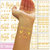92 Hen Party Tattoos and Bride Temporary Transfer Hen Do Accessories - Bride Tribe Bride Squad Team Bride Bridal Party Flash Stickers - Gold Metallic for Wedding Night & Bachelorette Party - 7 Sheets