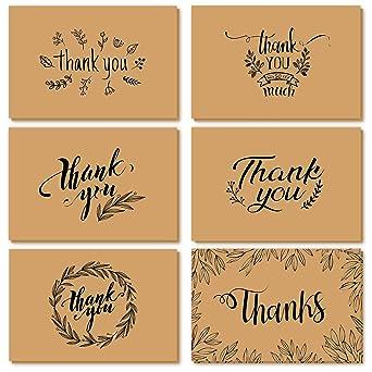 Tarjetas de agradecimiento, Ohuhu 36 Paquete de papel kraft marrón Tarjeta de agradecimiento Tarjeta de agradecimiento Tarjeta de felicitación W/ 36 ...