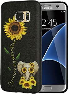Galaxy s7 Case,Sunflower and Cute Elephant Slim Anti-Scratch Shockproof Leather Grain Soft TPU Back Protective Cover Case for Samsung Galaxy S7 2016