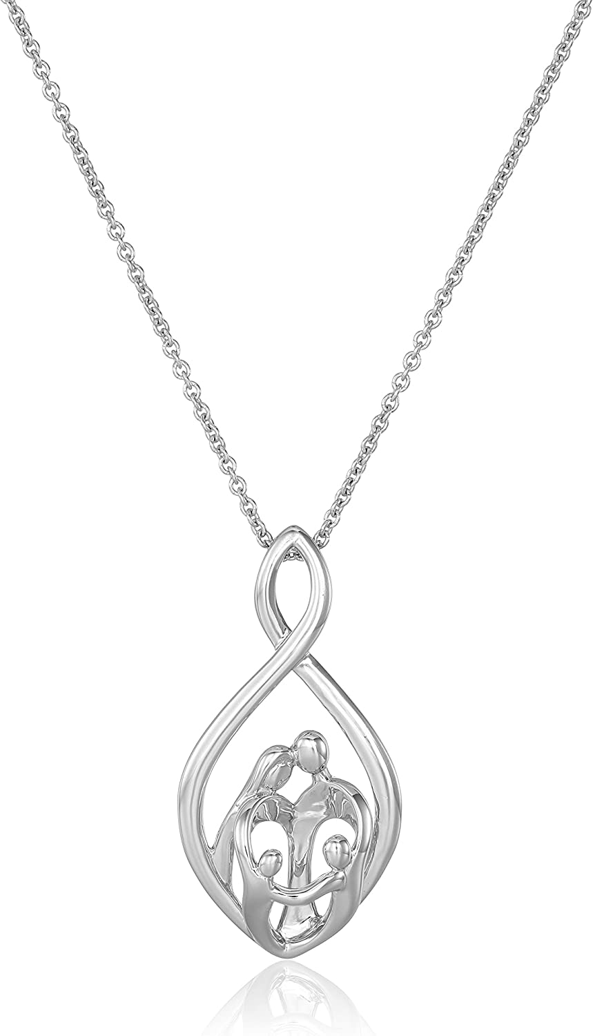 """Sterling Silver Family Infinity Pendant Necklace, 18"""""""