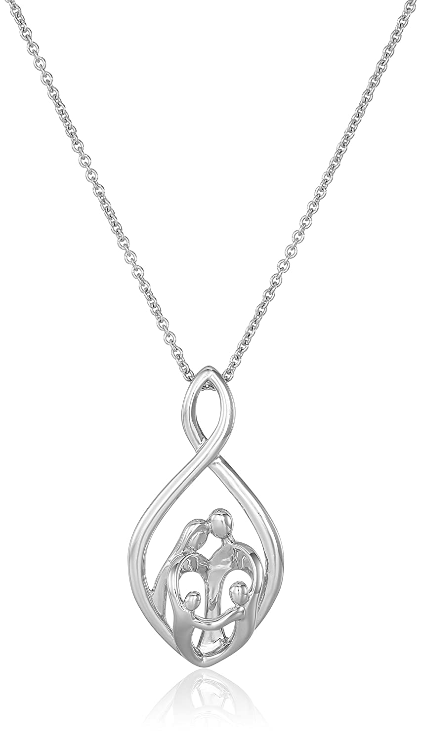 amazon com sterling silver family infinity pendant necklace 18