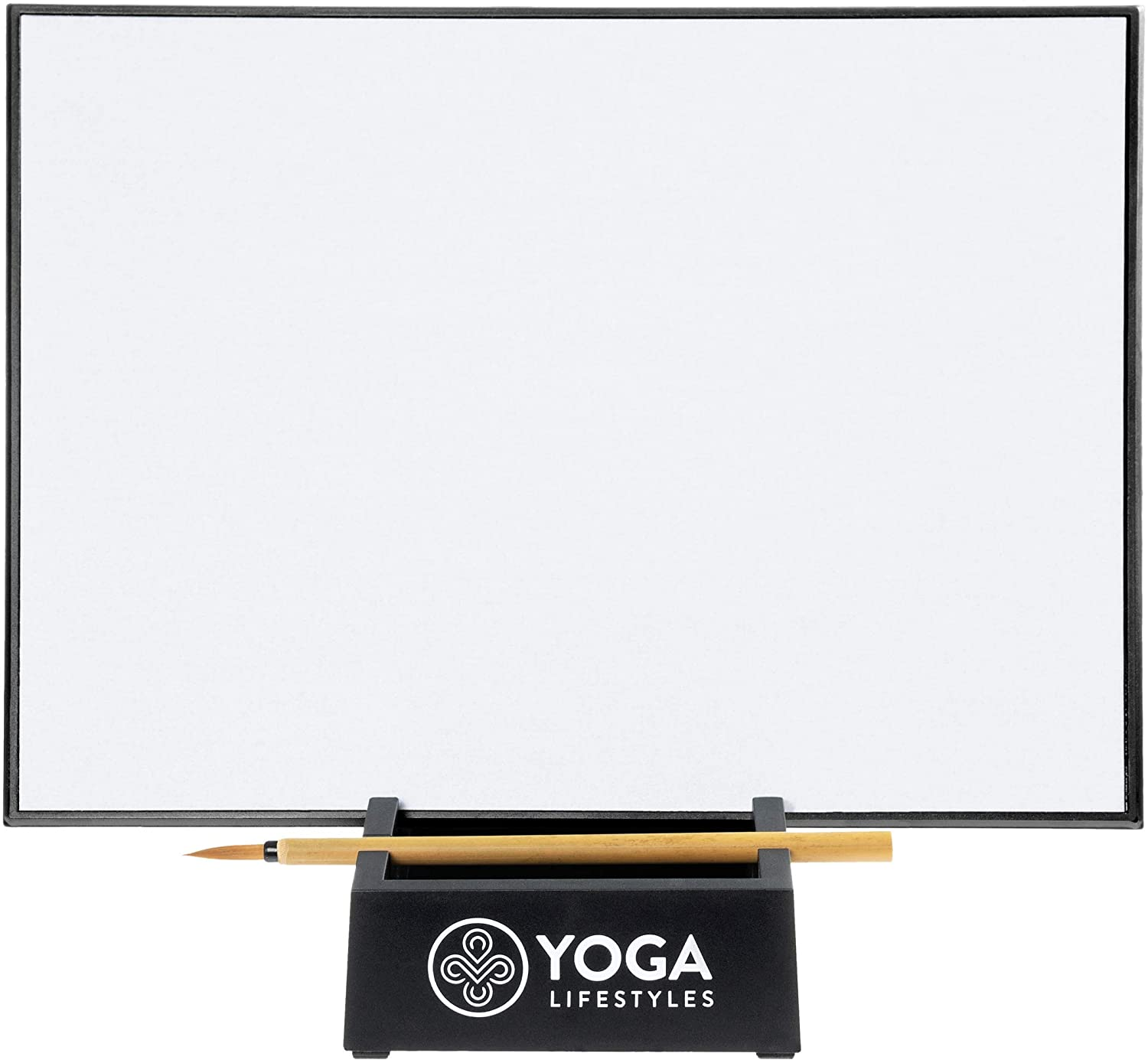 Zen Buddha Water Canvas Board for Stress Relief – with Stand and Bamboo Brush – Inkless, Disappearing Art – Art Board for Meditation, Relaxation Yoga Lifestyles YL-01