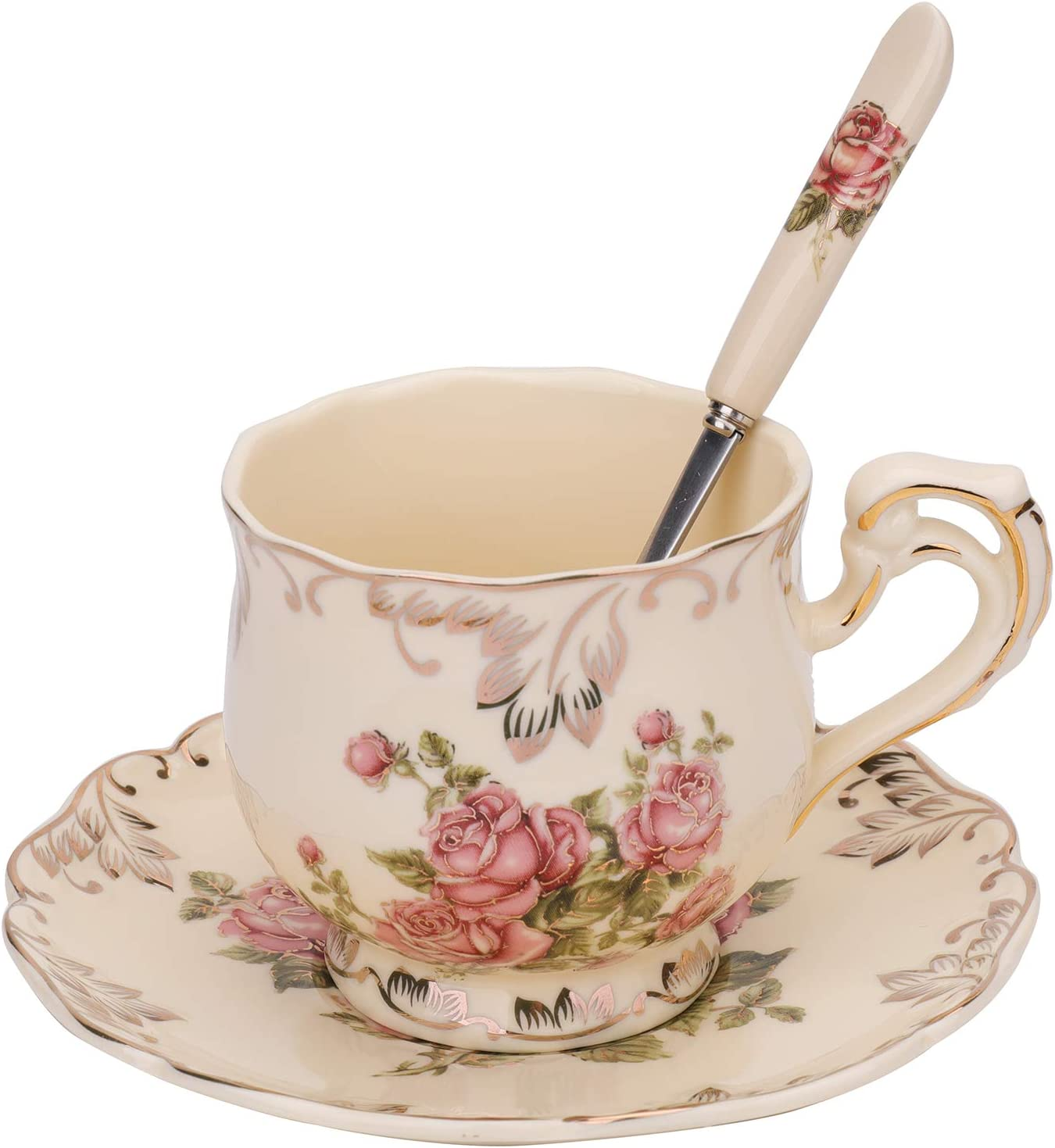 Amazon Com Foraineam Tea Cup And Saucer Set 8 Oz Ivory Porcelain Coffee Cup Vintage Floral Ceramic Tea Cup Set With Saucer And Spoon Cup Saucer Sets