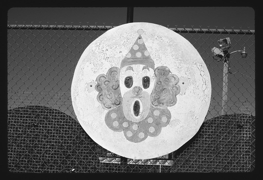 Vintography 8 x 12 BW Photo of: Clown disc, Espey and Daly's Hi-Land mini golf, 7011 Chippewa, Saint Louis, Missouri 1988 Roadside America Margolies, John, 79u