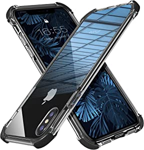 MATEPROX iPhone Xs Max Case Clear Hybrid TPU Hard Cover with Thin Shockproof Bumper Protective Case for iPhone Xs Max 6.5'' (Black)