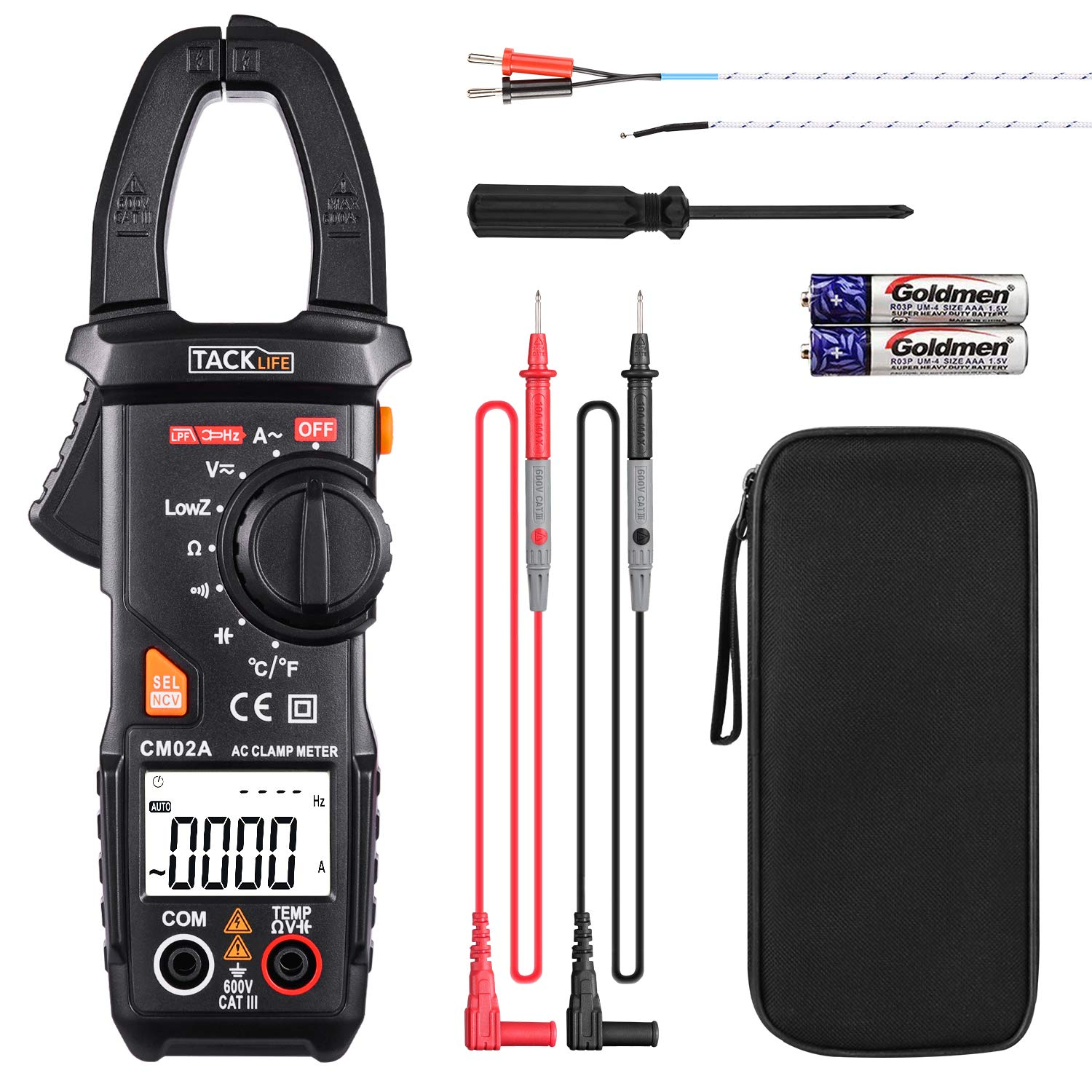 Digital Clamp Meter Multimeter Auto-Ranging Tacklife CM02A 600 Amp TRMS 6000 Counts NCV with AC Current AC/DC Voltage Test Resistance Continuity Capacitance Temperature Measure by TACKLIFE