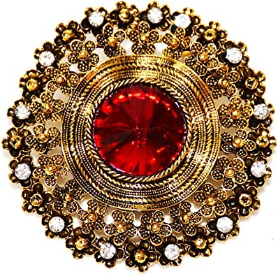 GORGEOUS VINTAGE INSPIRED ANTIQUE GOLD PLATED RED AND BLUE RHINESTONE BROOCH