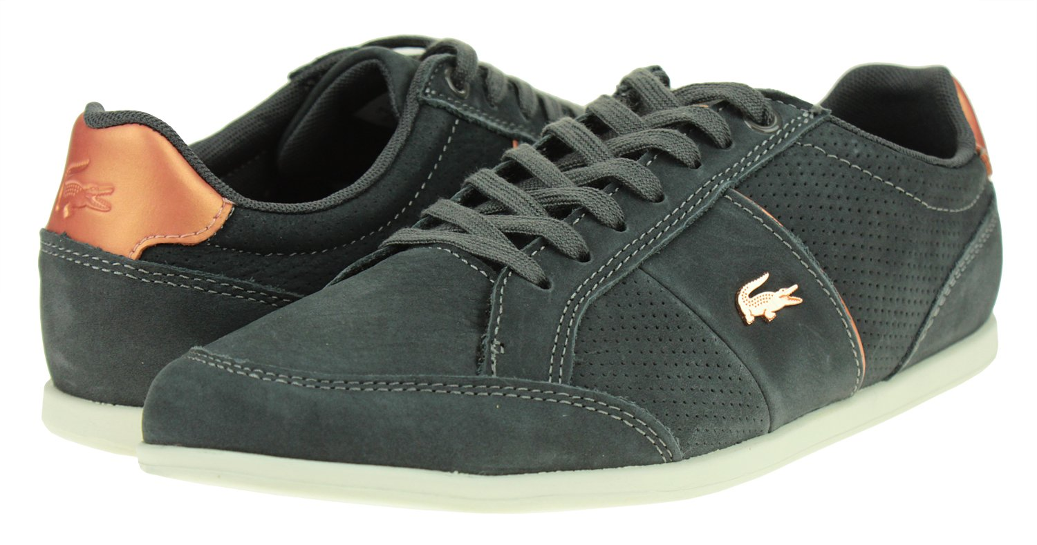Lacoste Women's SEFORRA Leather Sneakers B07FP46LMM 8.5 B(M) US|Dark Grey
