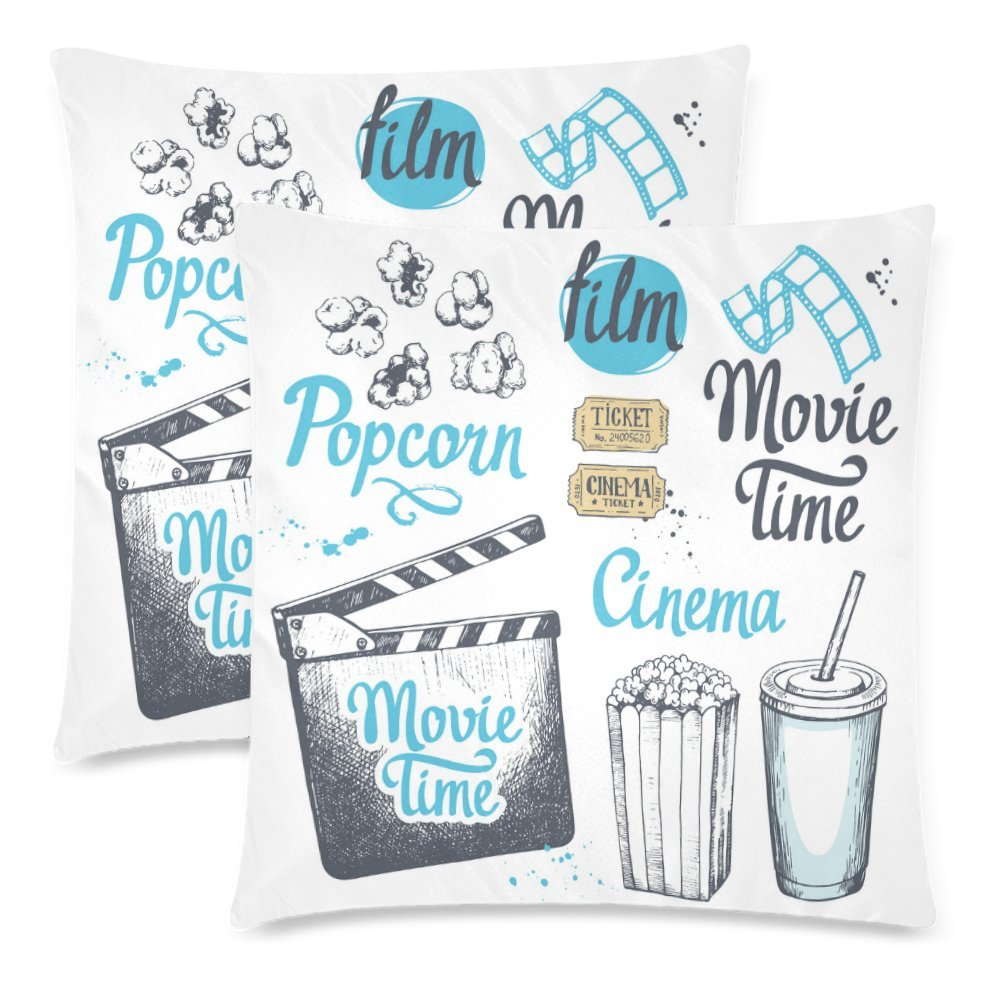 InterestPrint Movie Time with Popcorn Bucket and Clapperboard Pillow Cushion Case Cover 18x18 Twin Sides, Cinema Snack Polyester Zippered Throw Pillowcase Protector Decorative, Set of 2