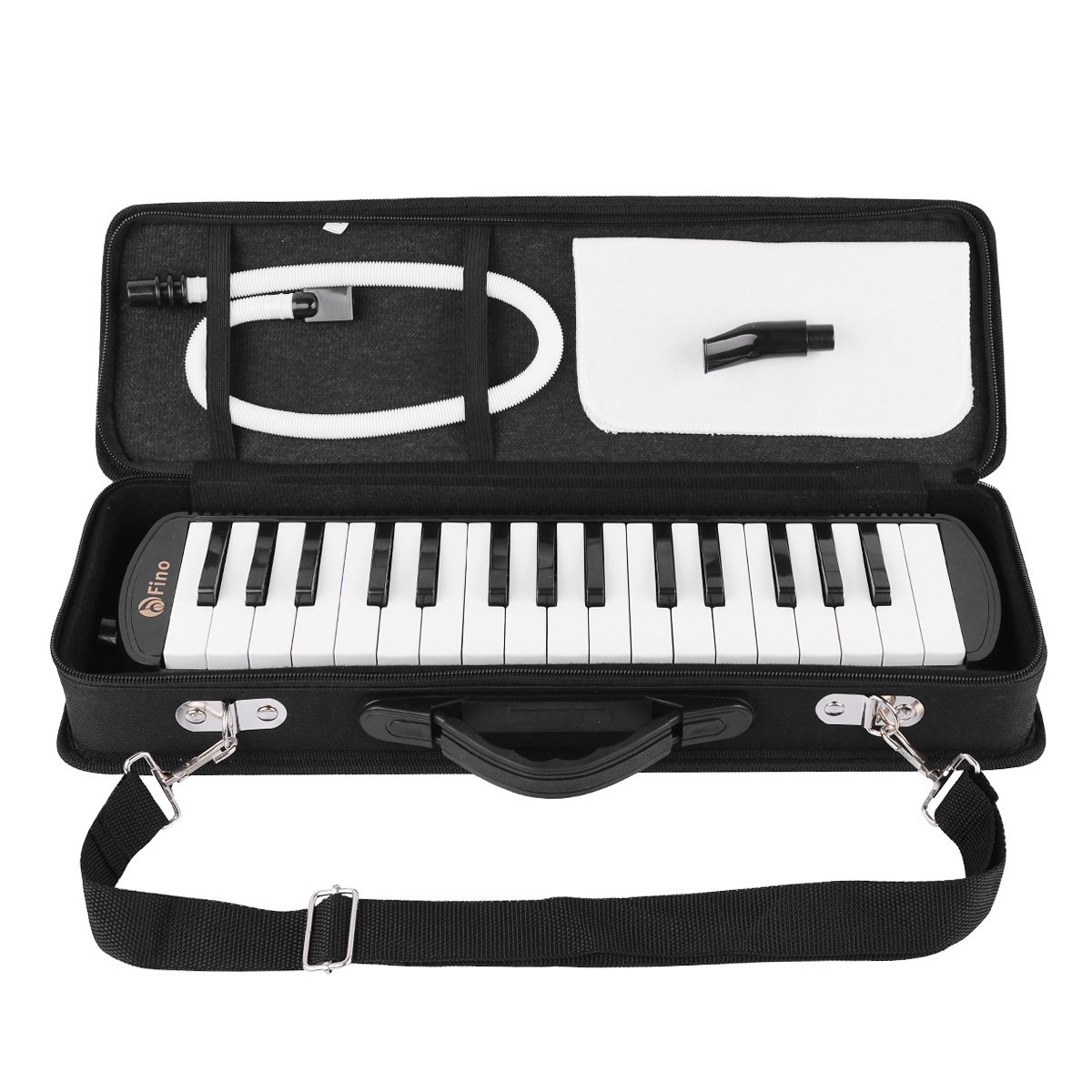 FINO 32 Key Melodica Instrument Air Piano Keyboards Pianica Wind Musical Instrument Folk World Key Instruments with Mouthpiece Tube Set Portable for Music Lover Beginners Gift with Carrying Bag Black by FINO (Image #7)
