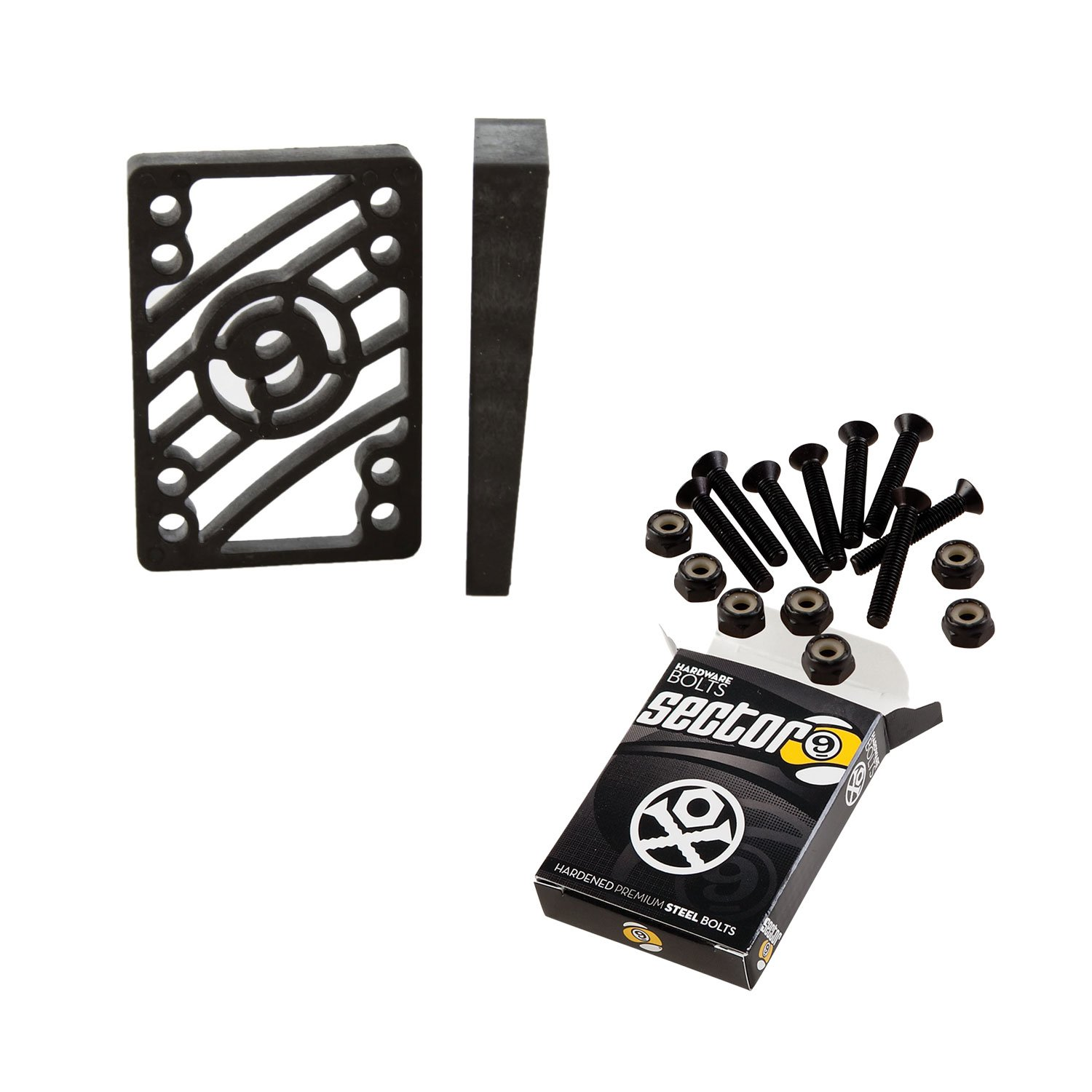 Sector 9 Longboard 1 1/2'' Hardware and Angled Risers Riser Pad Kit