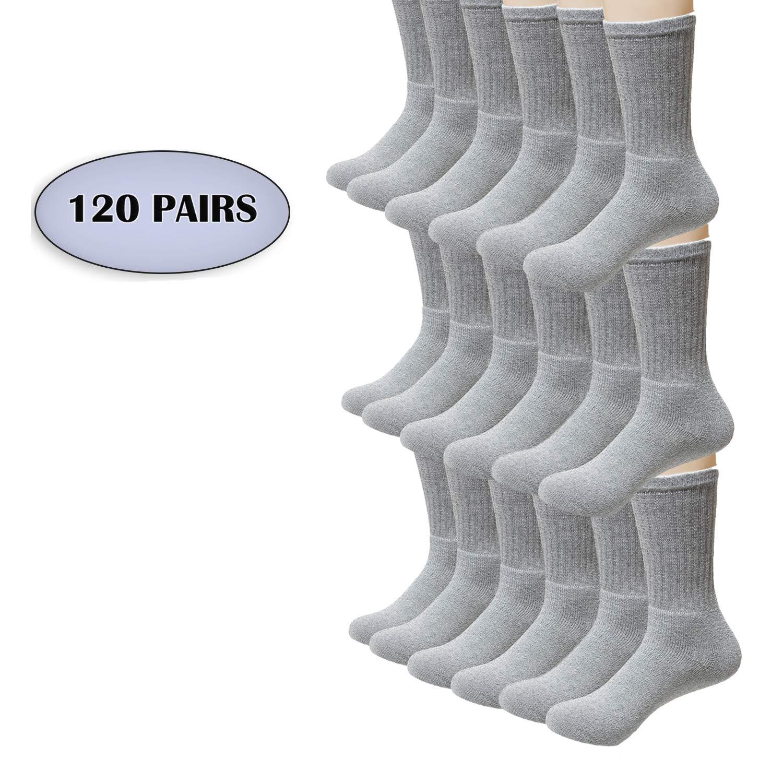Wholesale Men's Crew Cut Athletic Socks Size 10-13 in Grey - Bulk Case of 120 Pairs
