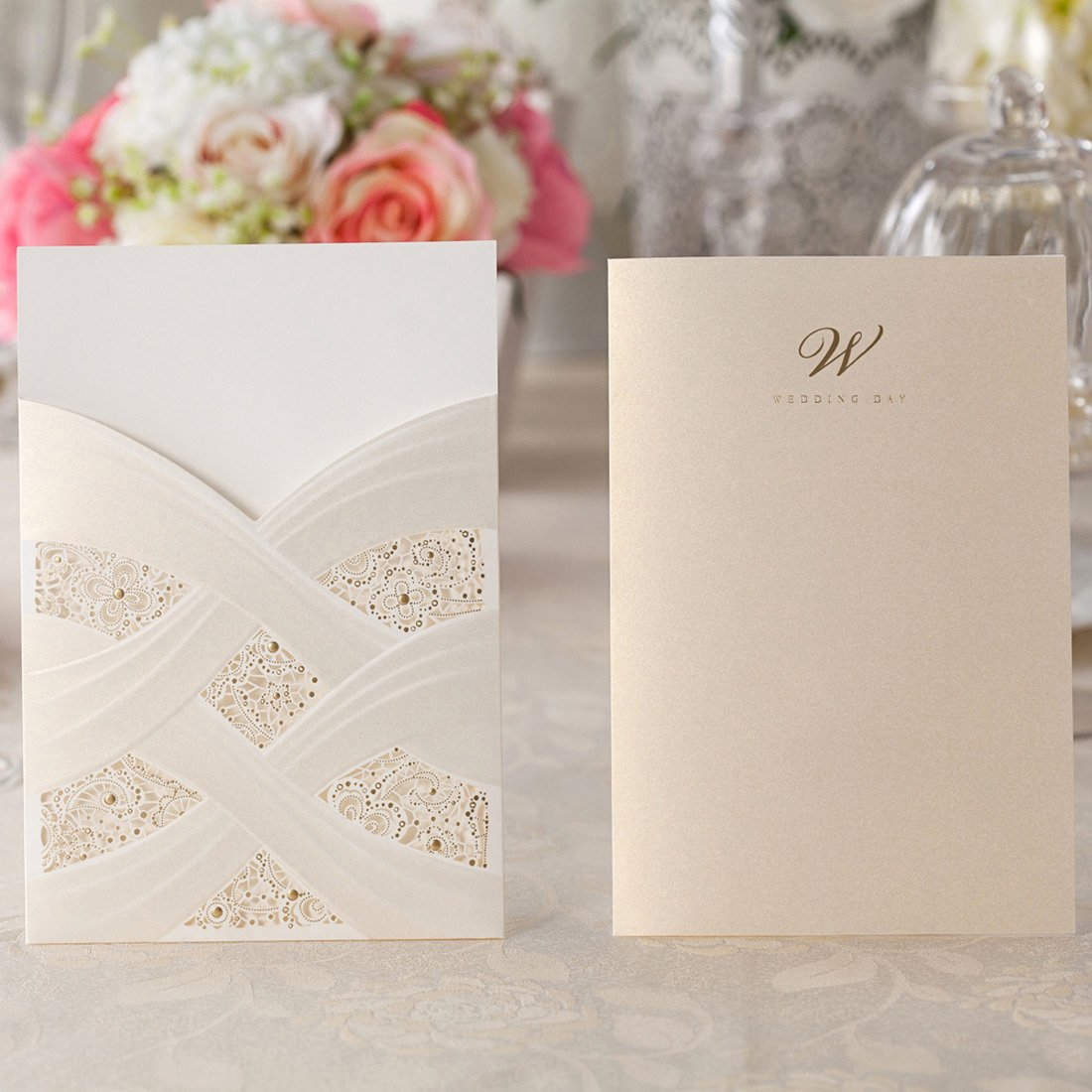 pack of 50pcs Wishmade Ivory Laser Cut Wedding Invitations Cards kits With Lace Sleeve Flower Pocket Design Cardstock 50 Pieces for Bridal Shower