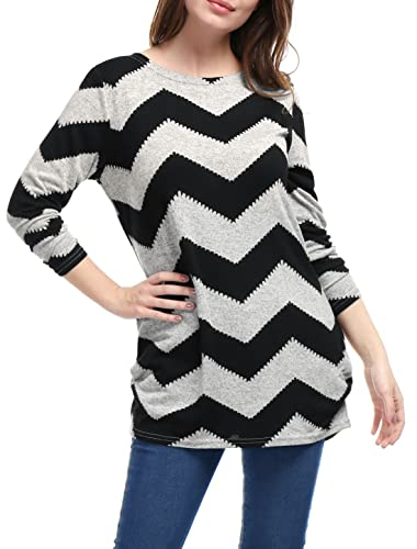 Allegra K Women's Chevron Pattern Knitted Relax Fit Tunic Shirt