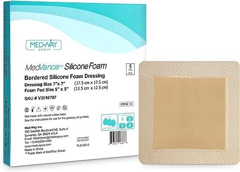 MedVanceTM Apósito de espuma adhesiva de silicona con borde, apósito de espuma suave, suave, cómodo, apósito