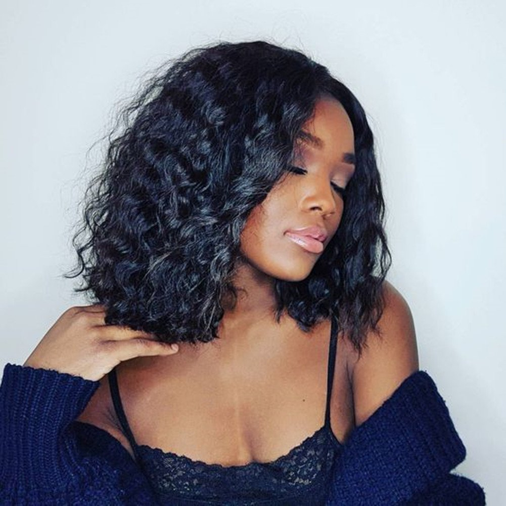 Flyon Hair Brazilian Lace Front Wigs Deep Curly Bob Human Hair with Baby Hair for Black Women 150% Density Natural Color 14 inch