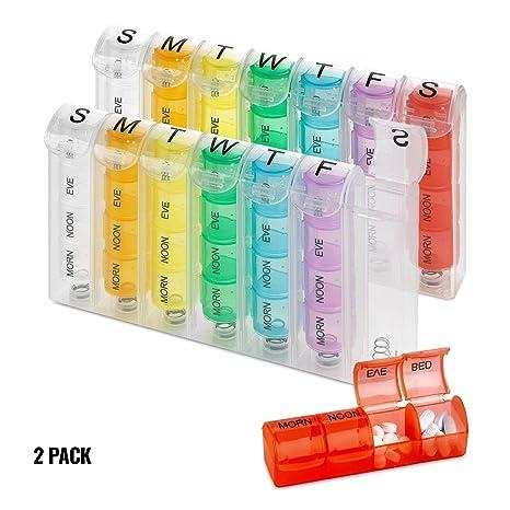 Organizador semanal de pastillas - (Paquete de 2) Organizadores de pastillas y vitaminas de