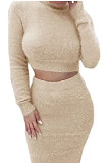 11d899d64 Women Casual Crop Top Pencil Skirt Furry Funnel Bodycon Solid 2-Piece  Jumpsuits-Apparel