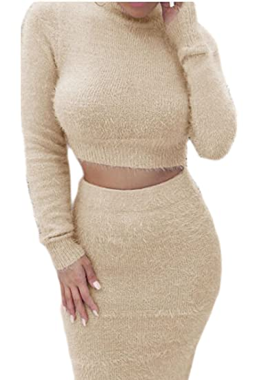 899f7ffc8 Women Casual Crop Top Pencil Skirt Furry Funnel Bodycon Solid 2-Piece  Jumpsuits-Apparel at Amazon Women's Clothing store: