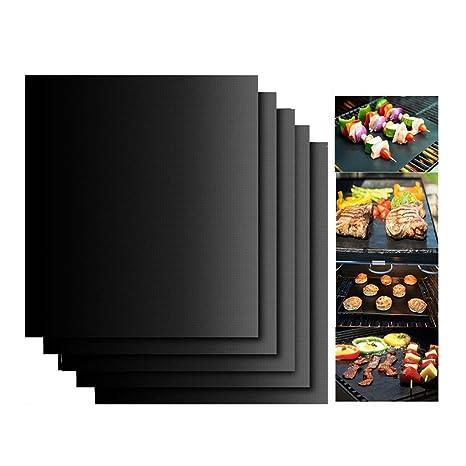 KINGCOO Juego de 5 Alfombrillas de Cocina, Parrilla para Barbacoa, Reutilizables, antiadherentes, Alfombrillas para Barbacoa, cocinar en casa, Gas ...