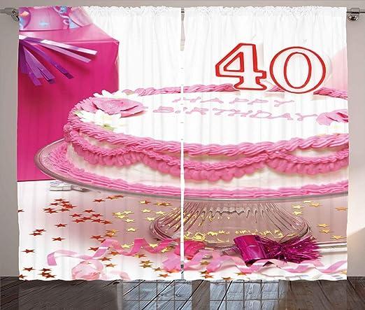 ABAKUHAUS - Cortina rústica de 40 cumpleaños con Trabillas y ...