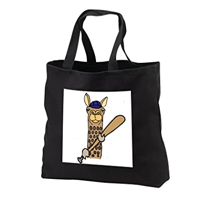 3dRose All Smiles Art Sports and Hobbies - Funny Cute Llama Playing Baseball Sports Design - Tote Bags